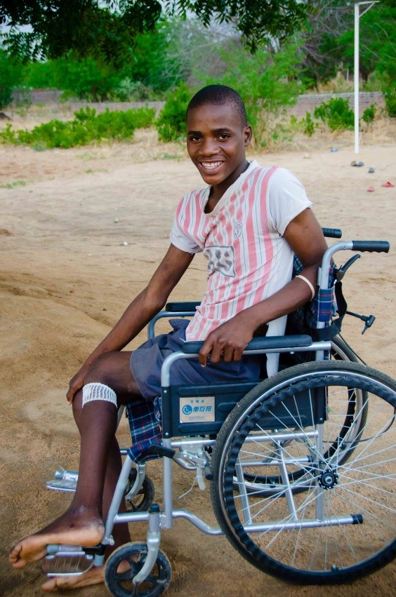 Moses, post-operation, residing at Iris Africa until he is strong enough to return to his village.